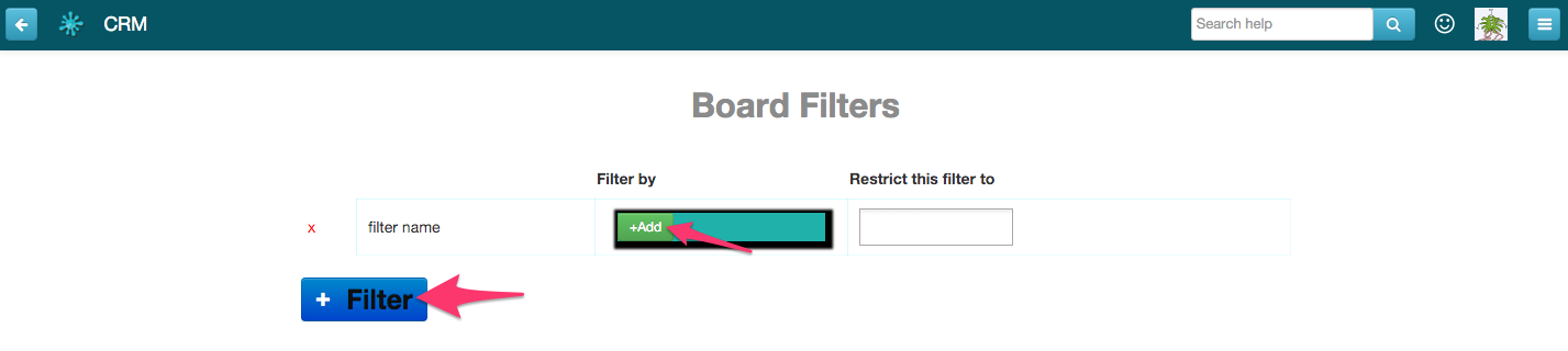 Board Filters screen