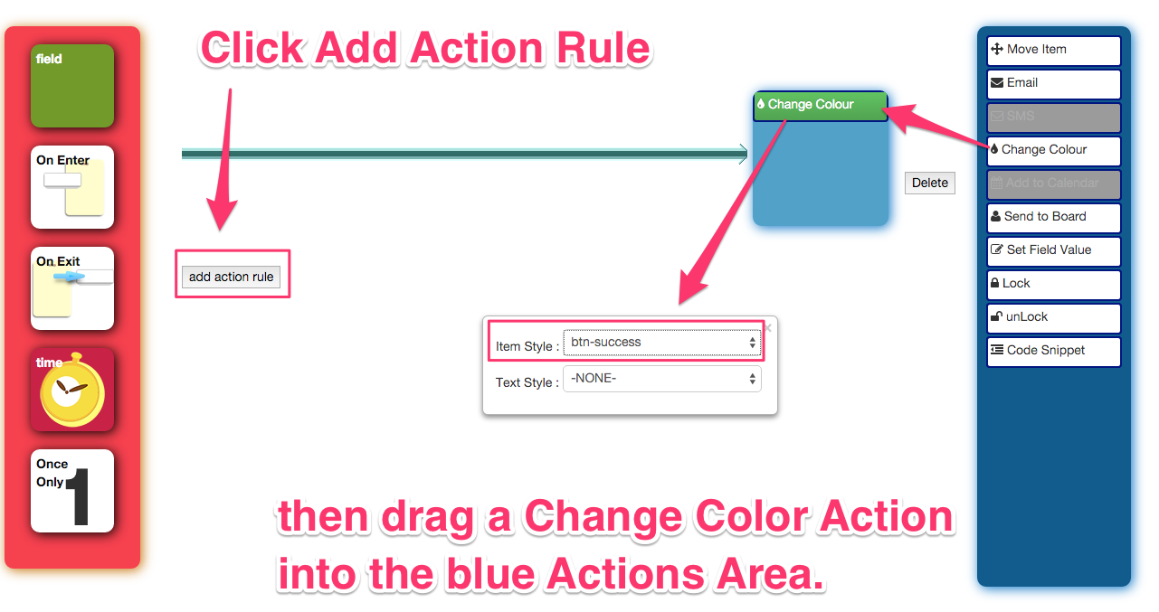 define an example item action rules