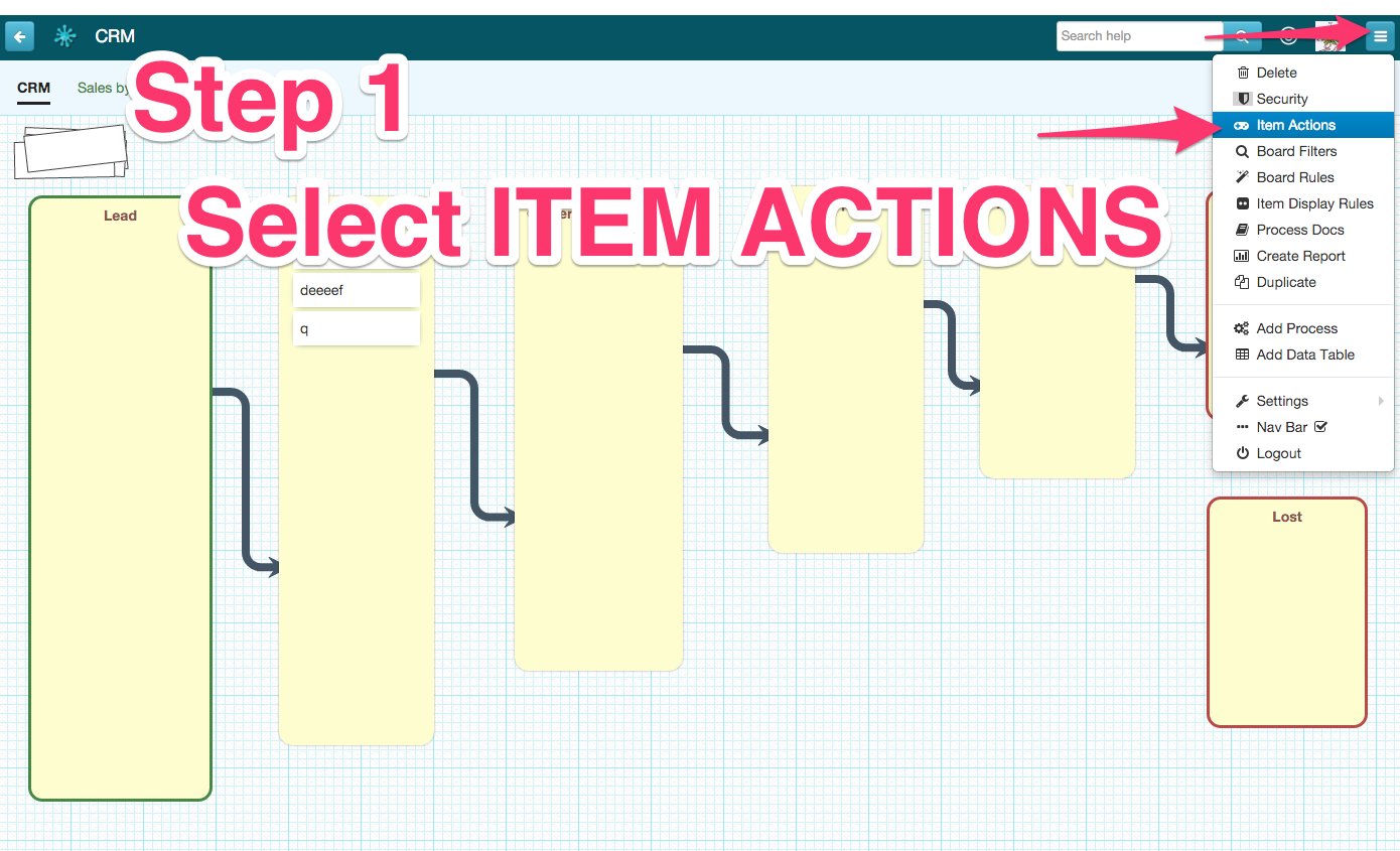 go to item actions